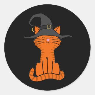 De Oranje Kat van de zitting met het Pet van de Ronde Sticker
