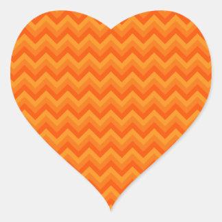 De oranje Strepen van de Zigzag Hart Stickers