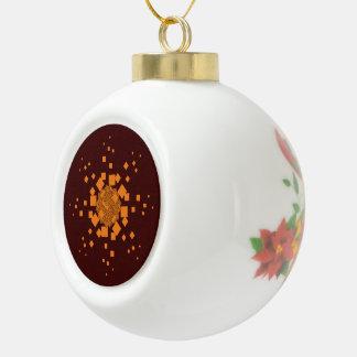 De oranje waakzame Vrolijke bal van Kerstmis van Keramische Bal Ornament