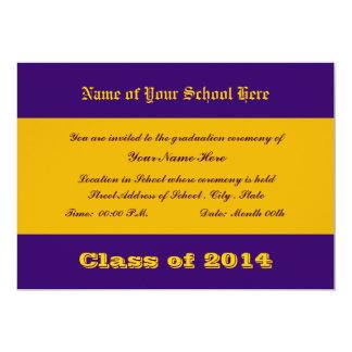 De paarse en Gouden Kleuren van de School 12,7x17,8 Uitnodiging Kaart
