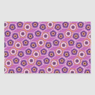 De paarse en Oranje BloemenGiften van het Patroon Rechthoekige Sticker