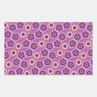 De paarse en Oranje BloemenGiften van het Patroon Rechthoekvormige Sticker