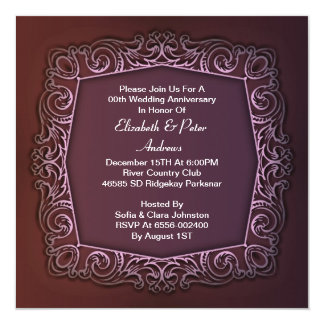 de paarse huwelijksverjaardag nodigt uit 13,3x13,3 vierkante uitnodiging kaart