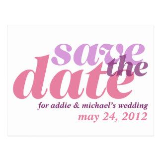 De paarse roze huwelijksaankondiging bewaart de briefkaart