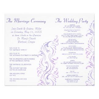 De paarse & witte programma's van het Huwelijk Flyer 11,4 X 14,2 Cm
