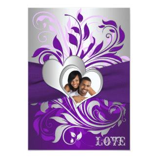 De paarse Zilveren Rollen, het Huwelijk van de 12,7x17,8 Uitnodiging Kaart