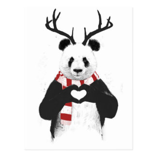 De panda van Kerstmis Briefkaart
