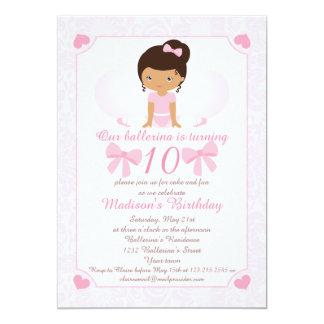 De Partij van de Verjaardag van de ballerina 12,7x17,8 Uitnodiging Kaart