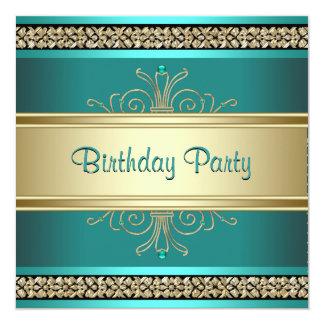De Partij van de Verjaardag van de Groene Gouden 13,3x13,3 Vierkante Uitnodiging Kaart