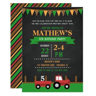 De Partij van de Verjaardag van de Tractor/van het 12,7x17,8 Uitnodiging Kaart