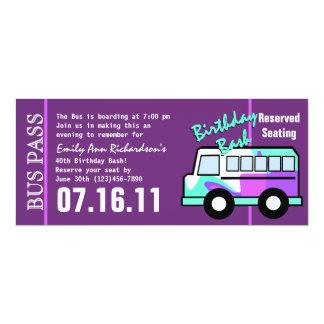 De Pas van de Bus van de Partij van de verjaardag 10,2x23,5 Uitnodiging Kaart