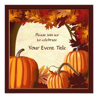 De Pompoen van de Kleur van de herfst herstelt Al 13,3x13,3 Vierkante Uitnodiging Kaart