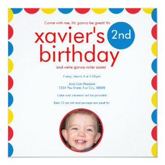 De primaire Verjaardag van de Cirkel van de Kleur 13,3x13,3 Vierkante Uitnodiging Kaart