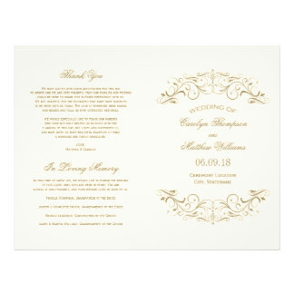 De Programma's van het huwelijk | Antiek Goud Flyer 21,6 X 27,9 Cm