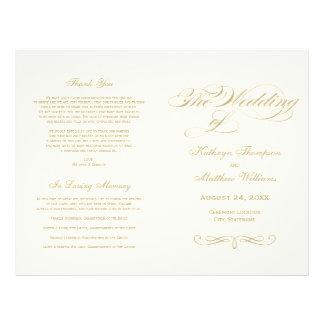 De Programma's van het huwelijk | Gouden Ontwerp Flyer 21,6 X 27,9 Cm