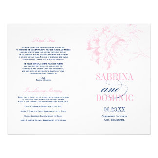 De Programma's van het huwelijk | Marine en Roze Flyer 21,6 X 27,9 Cm