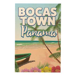 De reisposter van het Strand van Panama van de Hout Afdruk