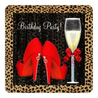 De rode Hoge Partij van de Verjaardag van de 13,3x13,3 Vierkante Uitnodiging Kaart