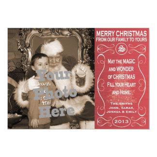 De rode Kaart van de Foto van Kerstmis 12,7x17,8 Uitnodiging Kaart