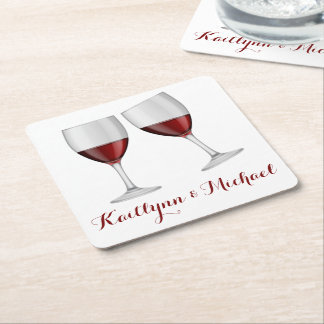 De rode Partij van het Huwelijk van de Glazen van Vierkante Onderzetter