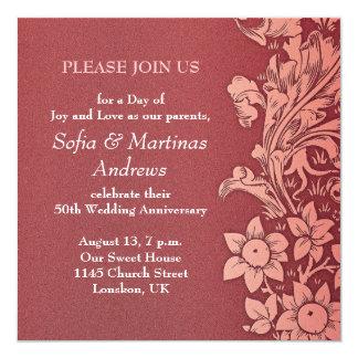 de rode uitnodigingen van de huwelijksverjaardag