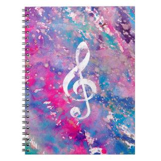 De roze Blauwe G-sleutel van de Nota van de Muziek Notitieboek