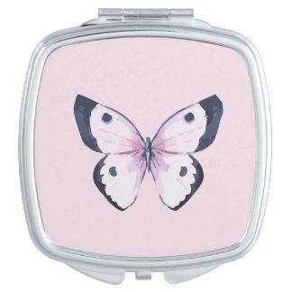 De roze Compacte Spiegel van de Vlinder Handtas Spiegeltje