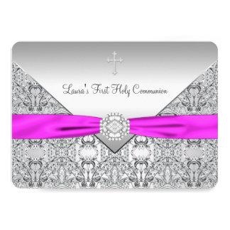De roze Dwars Roze Eerste Heilige Communie van 12,7x17,8 Uitnodiging Kaart