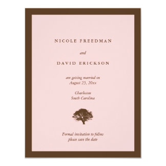 De roze eiken boom van de huwelijksaankondiging 10,8x13,9 uitnodiging kaart
