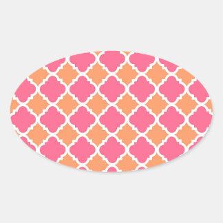De roze en Oranje Giften van het Patroon van de Ovaalvormige Stickers