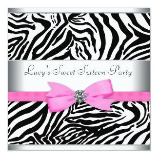 De roze Gestreepte Partij van de Verjaardag Gepersonaliseerde Uitnodiging