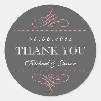De roze Grijze Stickers van het Huwelijk van het