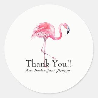 De roze Gunst van het Huwelijk van de Flamingo Ronde Sticker
