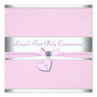 De roze Heilige Communie van het Hart van de 13,3x13,3 Vierkante Uitnodiging Kaart