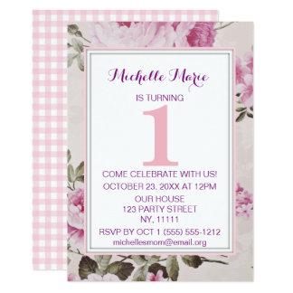 De roze Paarse Bloemen Eerste Verjaardag van de Kaart