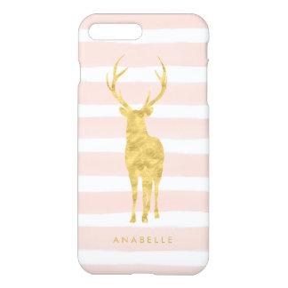 De roze Strepen van de Waterverf en Gouden Herten iPhone 8 Plus / 7 Plus Hoesje