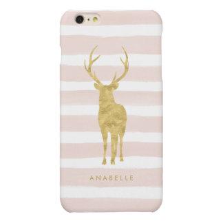 De roze Strepen van de Waterverf en Gouden Herten Matte iPhone 6 Plus Hoesje