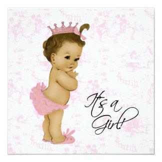 De roze Vintage Douche van het Meisje van het Baby Kaart