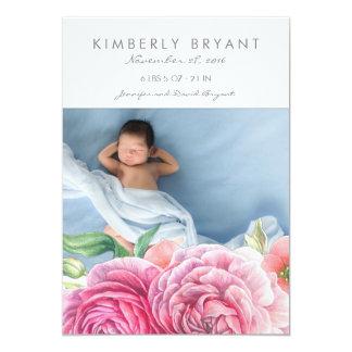 De roze Waterverf bloeit de Geboorte van het 12,7x17,8 Uitnodiging Kaart