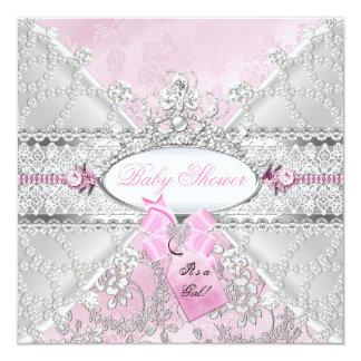 De roze Zilveren BloemenDiamanten van het Baby Kaart