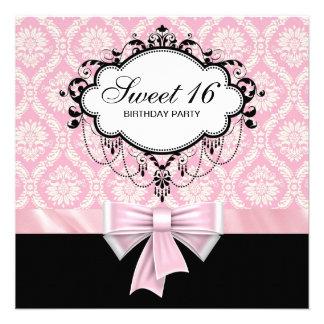 De roze Zwarte Partij van Verjaardag 16 van het Custom Uitnodigingen