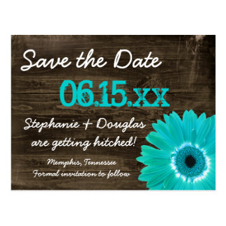 De rustieke Blauwgroen Save The Date Briefkaarten