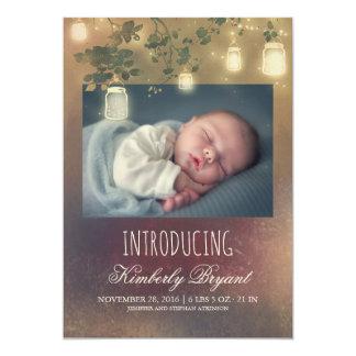 De rustieke Geboorte van de Foto van het Baby van 12,7x17,8 Uitnodiging Kaart