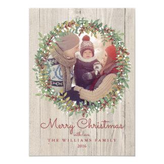 De rustieke Kaart van de Foto van Kerstmis van de 12,7x17,8 Uitnodiging Kaart