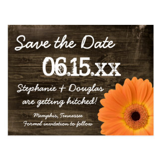 De rustieke Oranje Save The Date Briefkaarten van