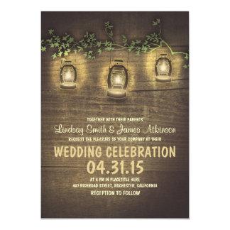 de rustieke vintage tuin steekt houten huwelijk 12,7x17,8 uitnodiging kaart
