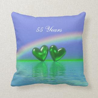 de Smaragdgroene Harten van het 55ste Jubileum Sierkussen