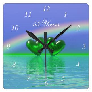 de Smaragdgroene Harten van het 55ste Jubileum Vierkante Klok