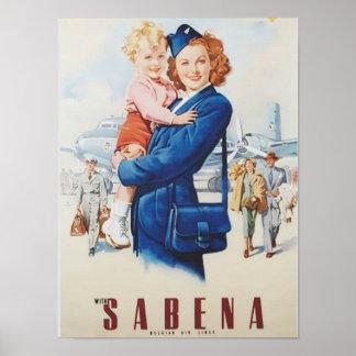 De Stewardess van de roodharige Poster