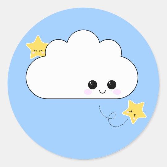 De Sticker van de Wolk van Kokeshi van Kawaii